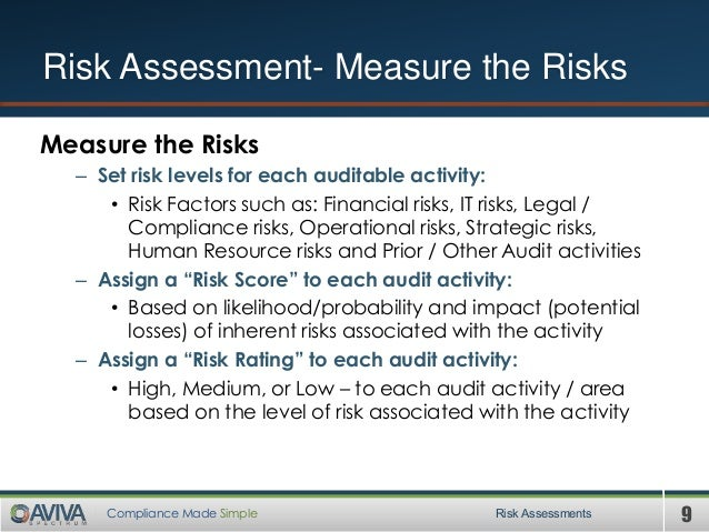 9Compliance Made Simple Measure the Risks – Set risk levels for each auditable activity: • Risk Factors such as: Financial...