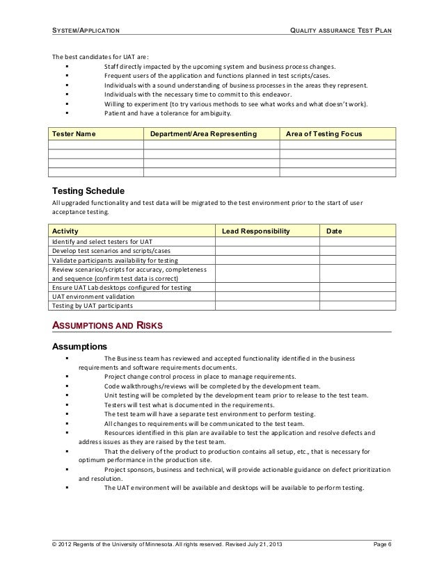 Uat Test Plan Template | Plan Template 2017