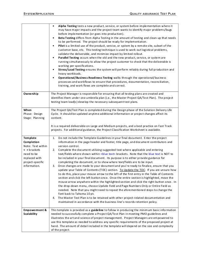 3. SYSTEM/APPLICATION QUALITY ASSURANCE TEST PLAN ...