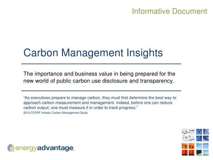 Informative Document     Carbon Management Insights The importance and business value in being prepared for the new world ...