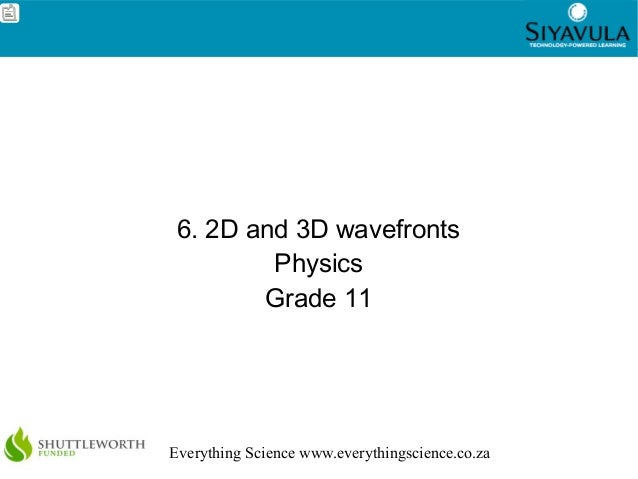 1Everything Science www.everythingscience.co.za6. 2D and 3D wavefrontsPhysicsGrade 11