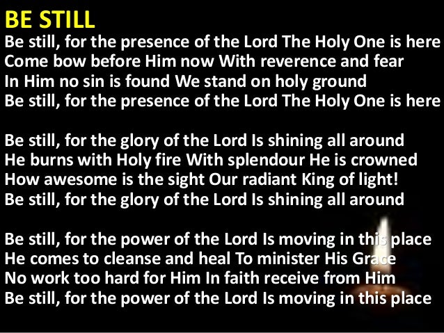 be still for the presence of the lord pdf
