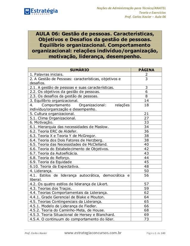 Noções de Administração para Técnico/ANATEL  Teoria e Exercícios  Prof. Carlos Xavier – Aula 06  AULA 06: Gestão de pessoa...