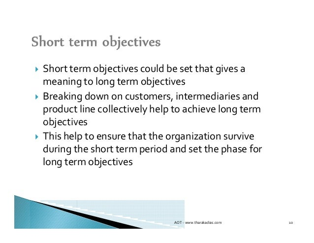 short-term objectives essay Write 3 goals for your first year including objectives and action plans for each goal goals: statements of desired future states, long-term and possible, and based on mission and vision typically few in number, with a target date objectives: short-term, specific, measureable outcomes statements action plans: series of short-term tasks to be completed that will result in the.