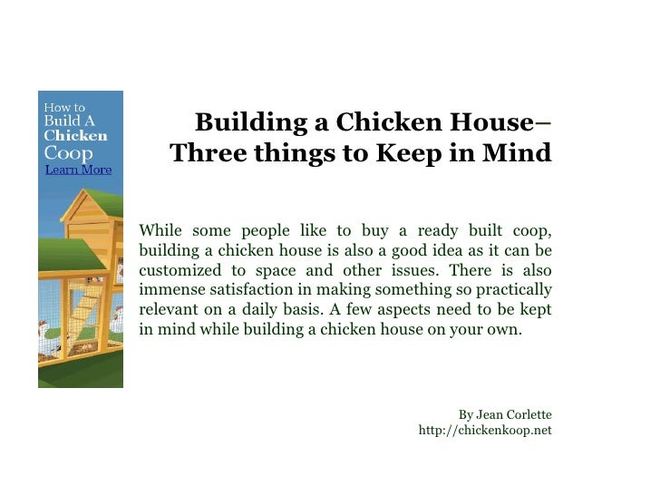 Building a chicken house three things to keep in mind for Things to include when building a house
