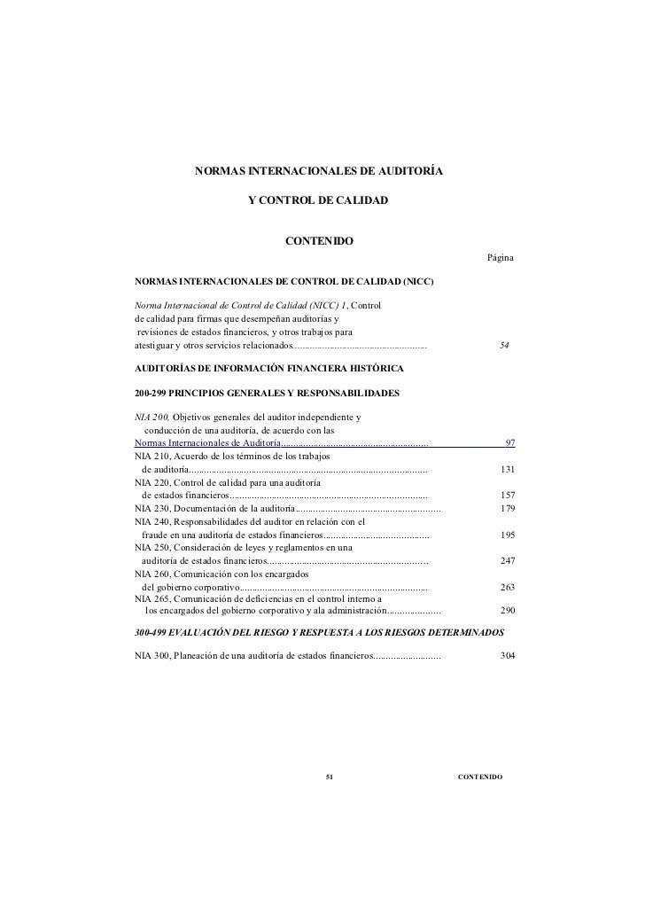 NORMAS INTERNACIONALES DE AUDITORÍA                                        Y CONTROL DE CALIDAD                           ...