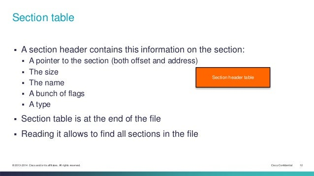 Section table   A section header contains this information on the section:   A pointer to the section (both offset and a...