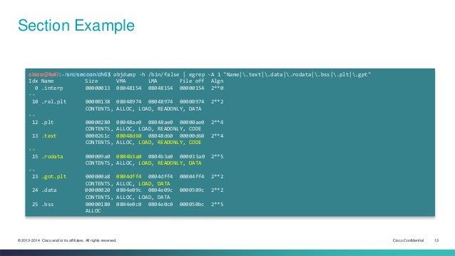 "Section Example  cisco@kali:~/src/seccon/ch6$ objdump -h /bin/false | egrep -A 1 ""Name|.text|.data|.rodata|.bss|.plt|.gpt""..."