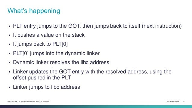 What's happening   PLT entry jumps to the GOT, then jumps back to itself (next instruction)   It pushes a value on the s...