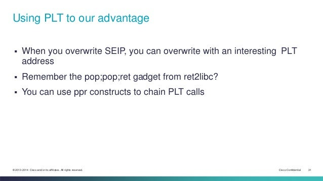 Using PLT to our advantage   When you overwrite SEIP, you can overwrite with an interesting PLT  address   Remember the ...