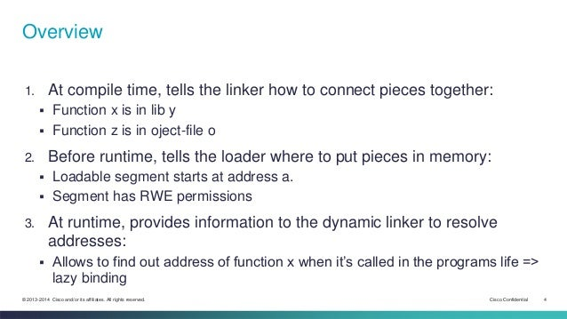 Overview  1. At compile time, tells the linker how to connect pieces together:   Function x is in lib y   Function z is ...