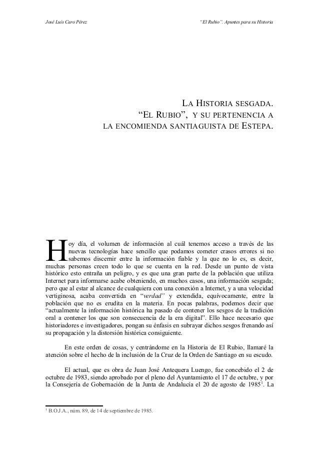 """José Luís Caro Pérez                                        """"El Rubio"""". Apuntes para su Historia                          ..."""