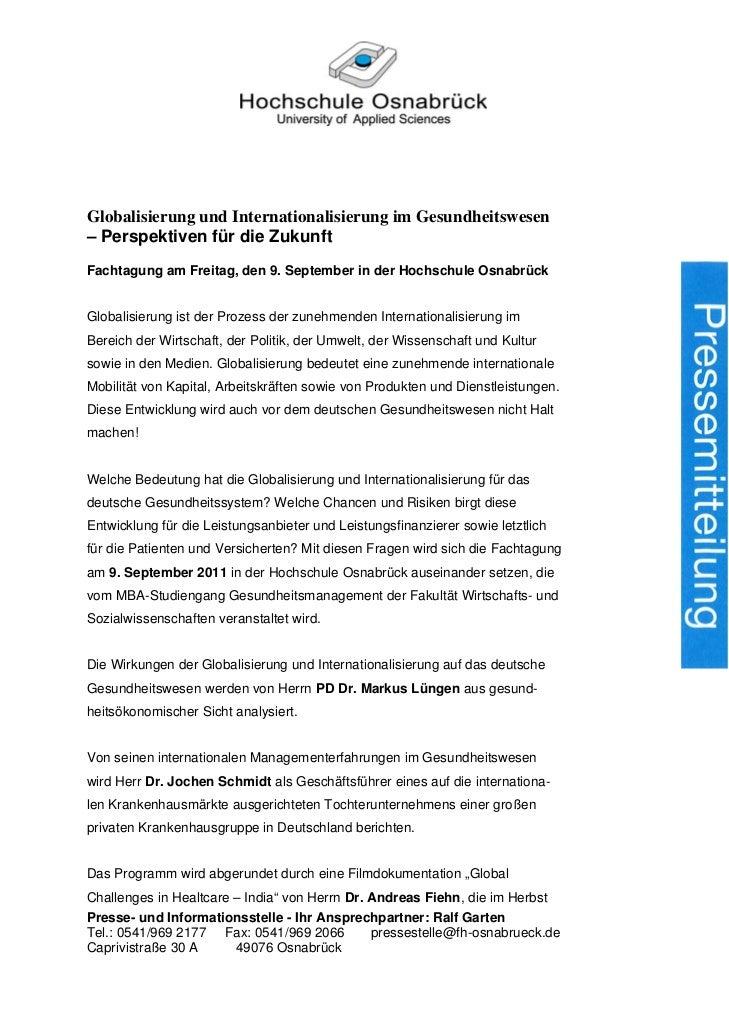Globalisierung und Internationalisierung im Gesundheitswesen– Perspektiven für die ZukunftFachtagung am Freitag, den 9. Se...