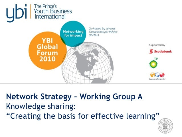 "Network Strategy – Working Group A Knowledge sharing: ""Creating the basis for effective learning"""