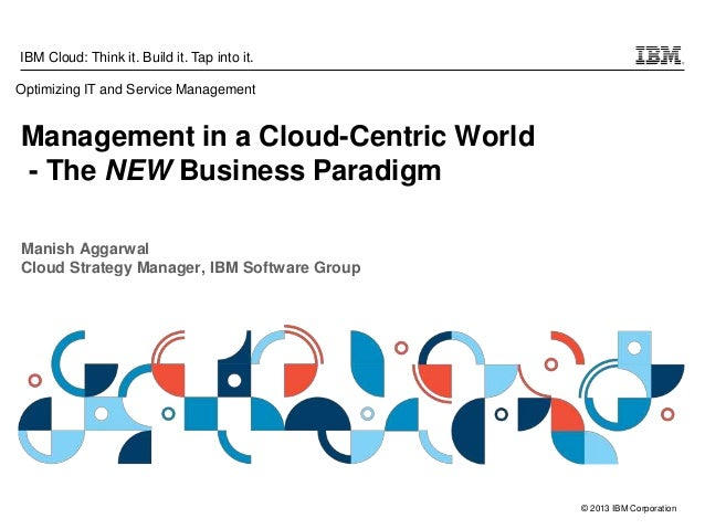 © 2013 IBM Corporation IBM Cloud: Think it. Build it. Tap into it. Management in a Cloud-Centric World - The NEW Business ...