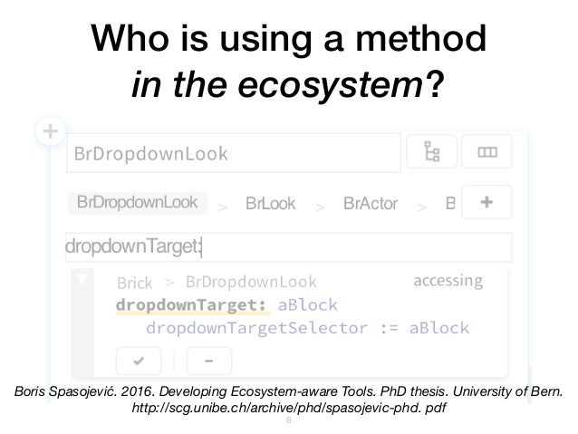 Who is using a method in the ecosystem? !8 Boris Spasojević. 2016. Developing Ecosystem-aware Tools. PhD thesis. Universit...