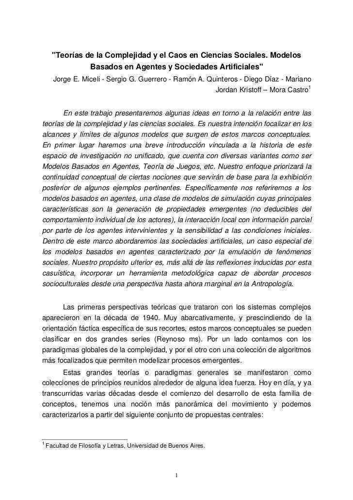 """""""Teorías de la Complejidad y el Caos en Ciencias Sociales. Modelos                 Basados en Agentes y Sociedades Artific..."""