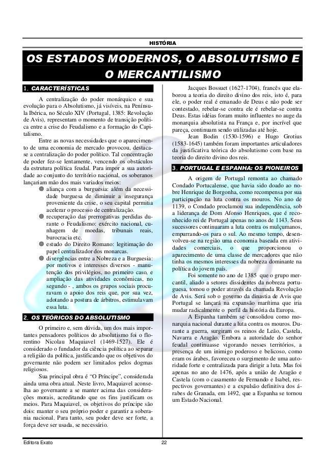 HISTÓRIA OS ESTADOS MODERNOS, O ABSOLUTISMO E           O MERCANTILISMO1. CARACTERÍSTICAS                                 ...