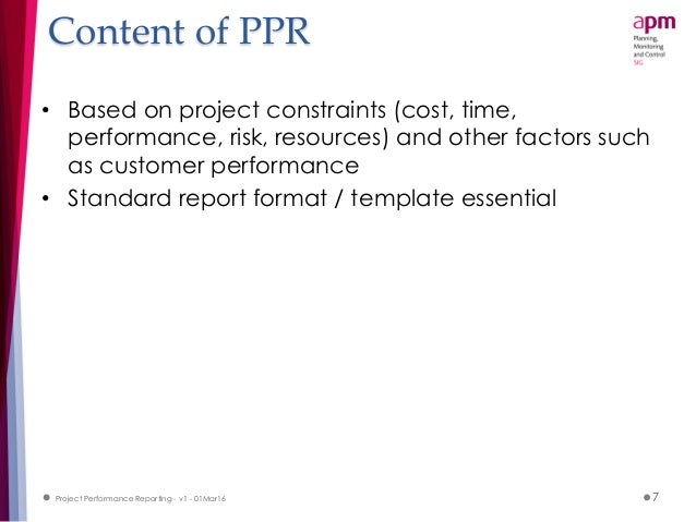 project performance reporting