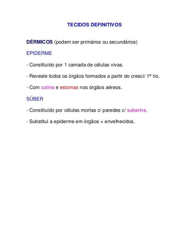 TECIDOS DEFINITIVOS           DÉRMICOS (podem ser primários ou secundários)    E  PIDERME      - Constituído por 1 camada ...