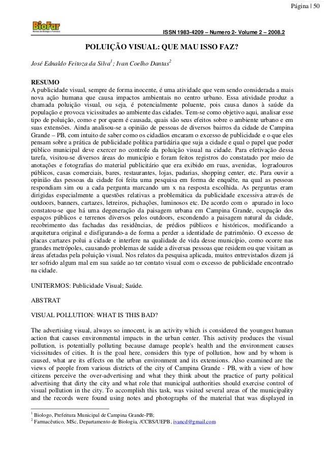 ISSN 1983-4209 – Numero 2- Volume 2 – 2008.2Página | 50POLUIÇÃO VISUAL: QUE MAU ISSO FAZ?José Ednaldo Feitoza da Silva1; I...