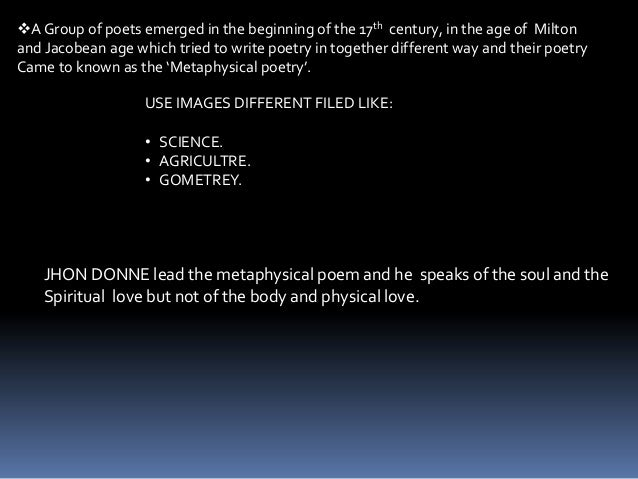 what is a metaphysical poem How can the answer be improved.