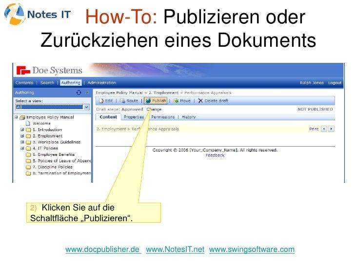 """How-To: Publizieren oder   Zurückziehen eines Dokuments     2) Klicken Sie auf die Schaltfläche """"Publizieren"""".            ..."""