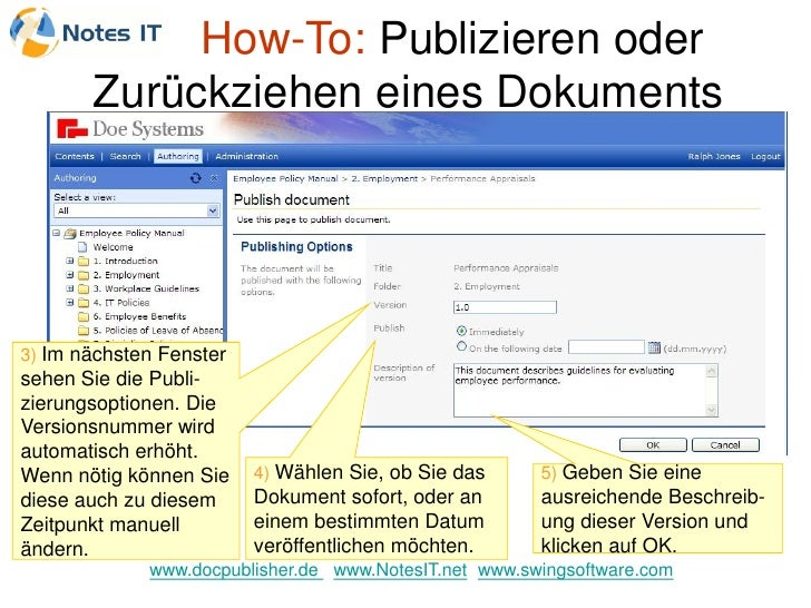 How-To: Publizieren oder        Zurückziehen eines Dokuments     3) Im nächsten Fenster sehen Sie die Publi- zierungsoptio...