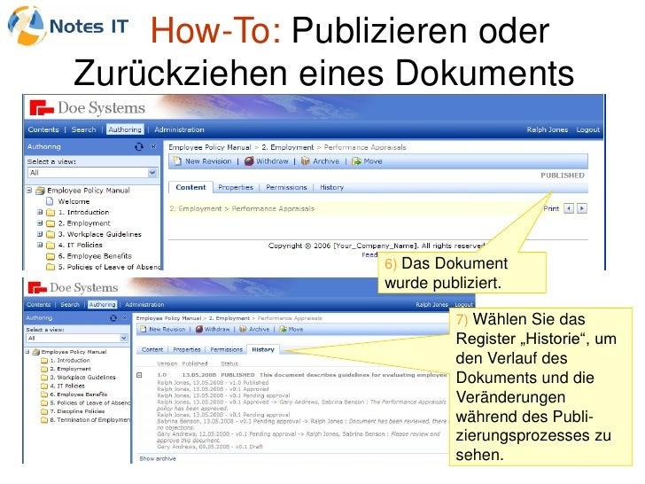 How-To: Publizieren oder Zurückziehen eines Dokuments                      6) Das Dokument                  wurde publizie...