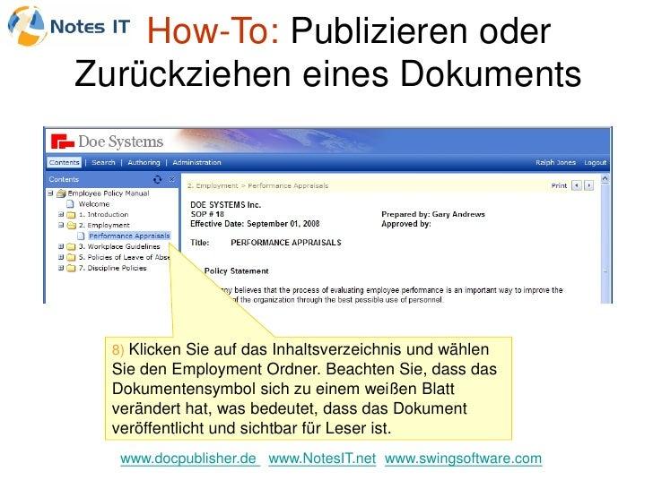 How-To: Publizieren oder Zurückziehen eines Dokuments       8) Klicken Sie auf das Inhaltsverzeichnis und wählen   Sie den...