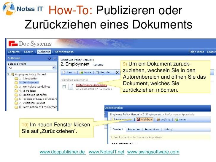 How-To: Publizieren oder  Zurückziehen eines Dokuments                                           9) Um ein Dokument zurück...