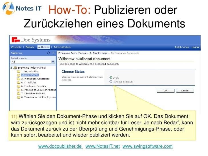 How-To: Publizieren oder      Zurückziehen eines Dokuments     11) Wählen Sie den Dokument-Phase und klicken Sie auf OK. D...