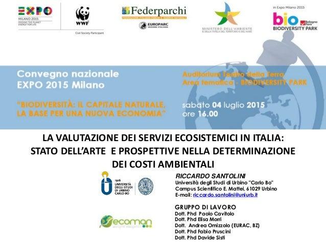 LA VALUTAZIONE DEI SERVIZI ECOSISTEMICI IN ITALIA: STATO DELL'ARTE E PROSPETTIVE NELLA DETERMINAZIONE DEI COSTI AMBIENTALI...
