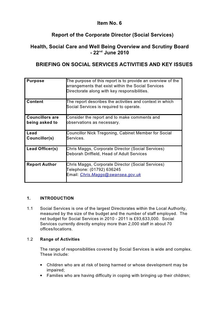 Item No. 6               Report of the Corporate Director (Social Services)   Health, Social Care and Well Being Overview ...