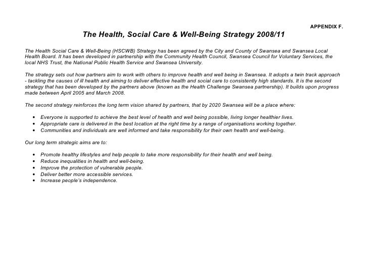 APPENDIX F.                          The Health, Social Care & Well-Being Strategy 2008/11 The Health Social Care & Well-B...