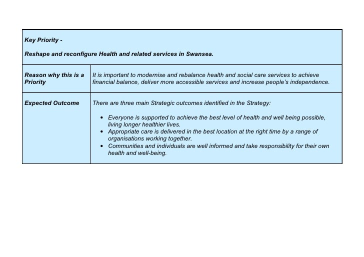 Key Priority -  Reshape and reconfigure Health and related services in Swansea.   Reason why this is a   It is important t...