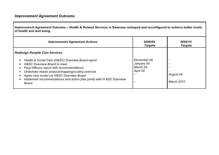 Improvement Agreement Outcome   Improvement Agreement Outcome – Health & Related Services in Swansea reshaped and reconfig...
