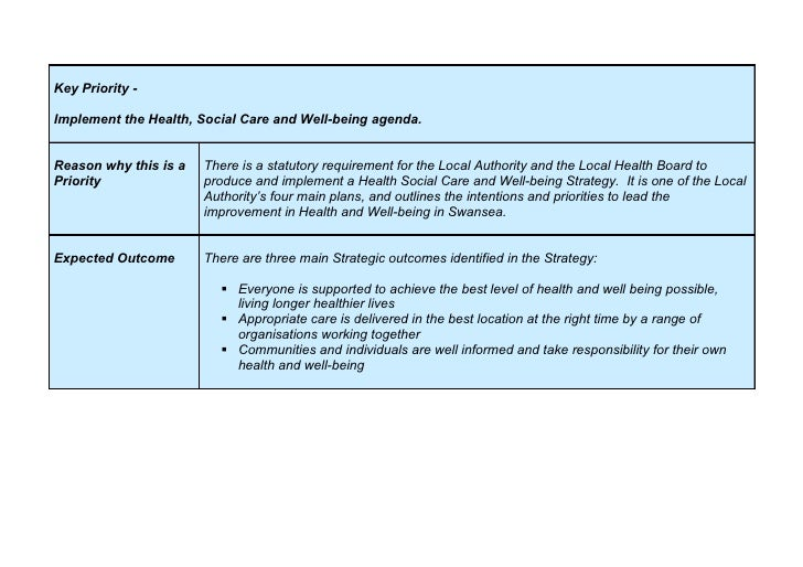 Key Priority -  Implement the Health, Social Care and Well-being agenda.   Reason why this is a   There is a statutory req...