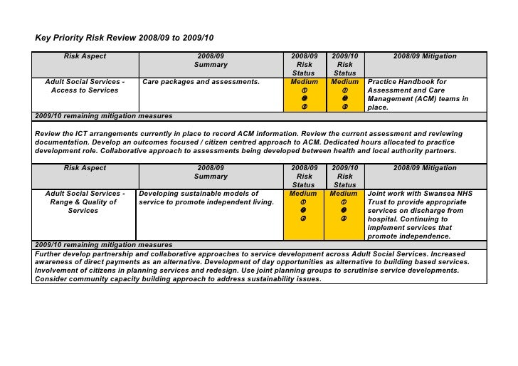 Key Priority Risk Review 2008/09 to 2009/10          Risk Aspect                           2008/09                   2008/...