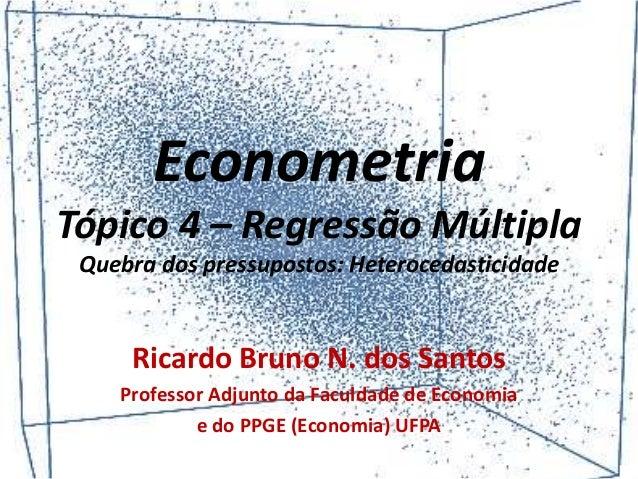 Econometria Tópico 4 – Regressão Múltipla Quebra dos pressupostos: Heterocedasticidade Ricardo Bruno N. dos Santos Profess...