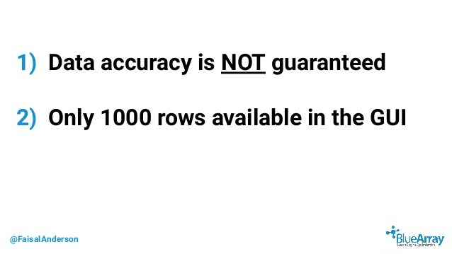 @FaisalAnderson 1) Data accuracy is NOT guaranteed 2) Only 1000 rows available in the GUI