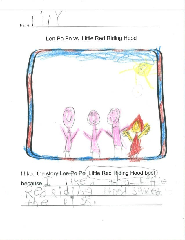Lon Po Po vs.  Little Red Riding Hood     - .  1 'V ' u .  , ,  .        -.   I liked the story. L.ei+Psl= -s@tle Red Ridi...