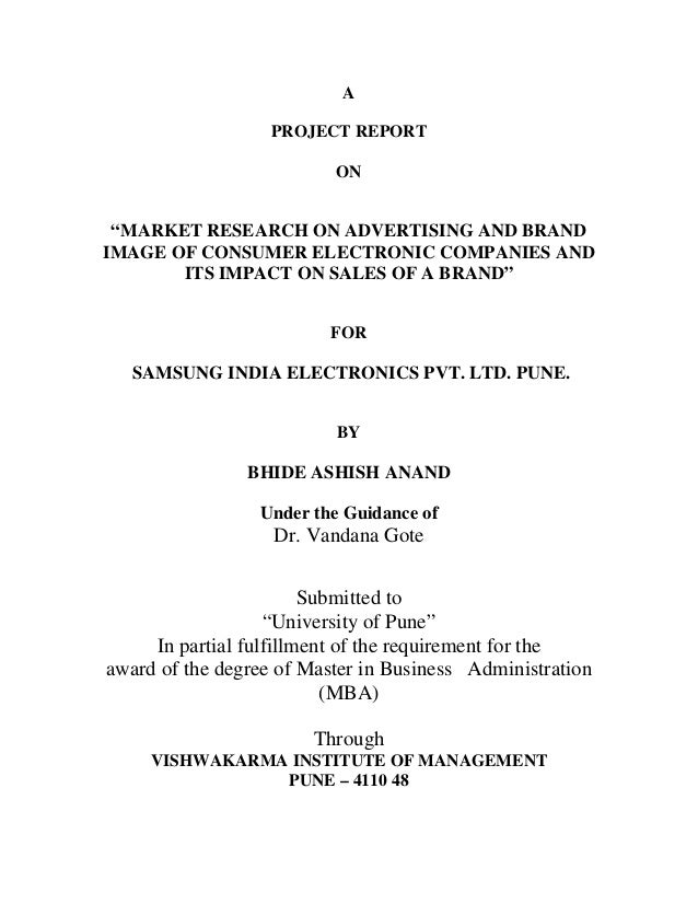"""A PROJECT REPORT ON """"MARKET RESEARCH ON ADVERTISING AND BRAND IMAGE OF CONSUMER ELECTRONIC COMPANIES AND ITS IMPACT ON SAL..."""