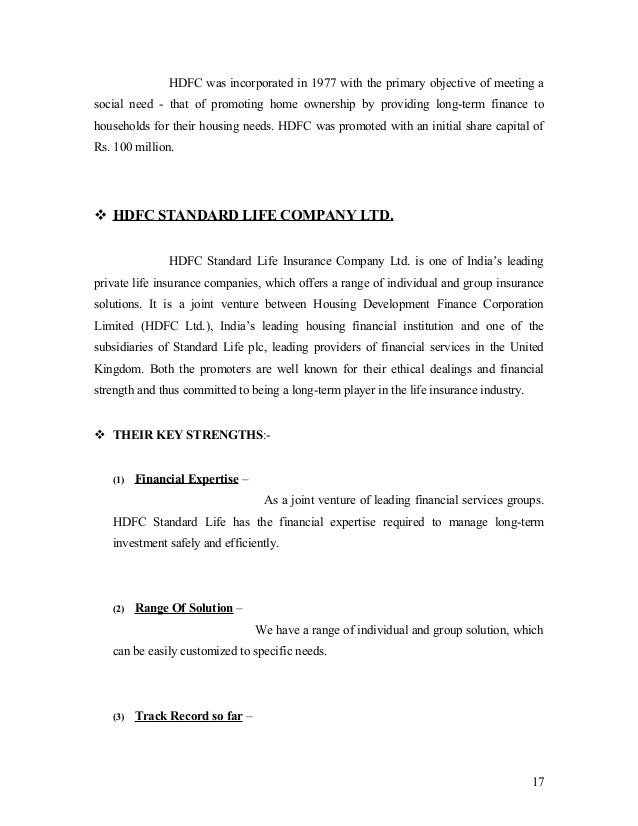 objectives of hdfc life This is the sole and exclusive property of hdfc life june 6, 2018 market opportunity and  critical objectives to be met 1 product innovation 2 customer-centric dist 3 revitalizat ion of core  a differentiated product suite caters to innate and latent customer needs 11 product.