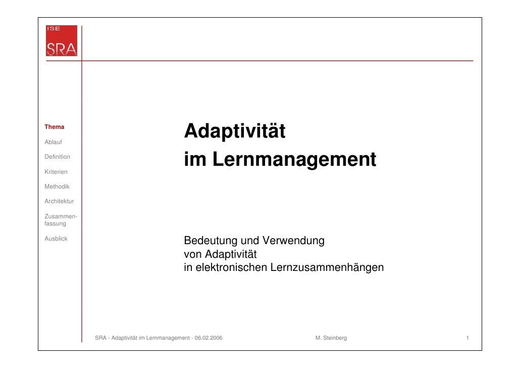 ThemaAblauf                                               AdaptivitätDefinitionKriterien                                  ...