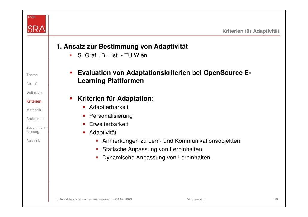 Kriterien für Adaptivität              1. Ansatz zur Bestimmung von Adaptivität                           S. Graf , B. Lis...