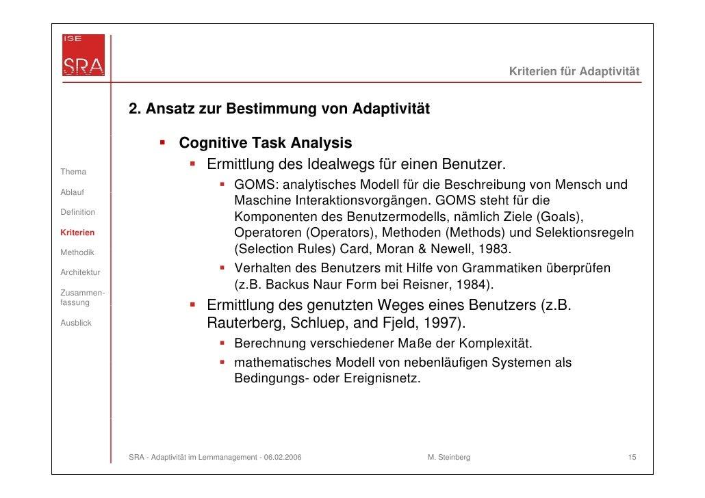 Kriterien für Adaptivität              2. Ansatz zur Bestimmung von Adaptivität                           Cognitive Task A...