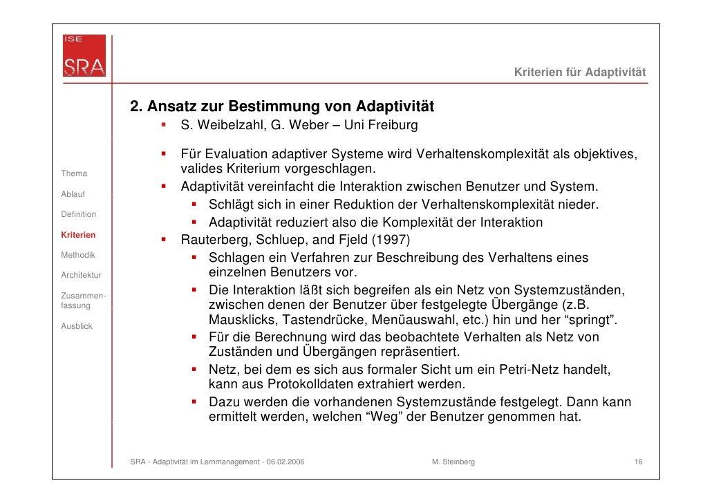 Kriterien für Adaptivität              2. Ansatz zur Bestimmung von Adaptivität                           S. Weibelzahl, G...