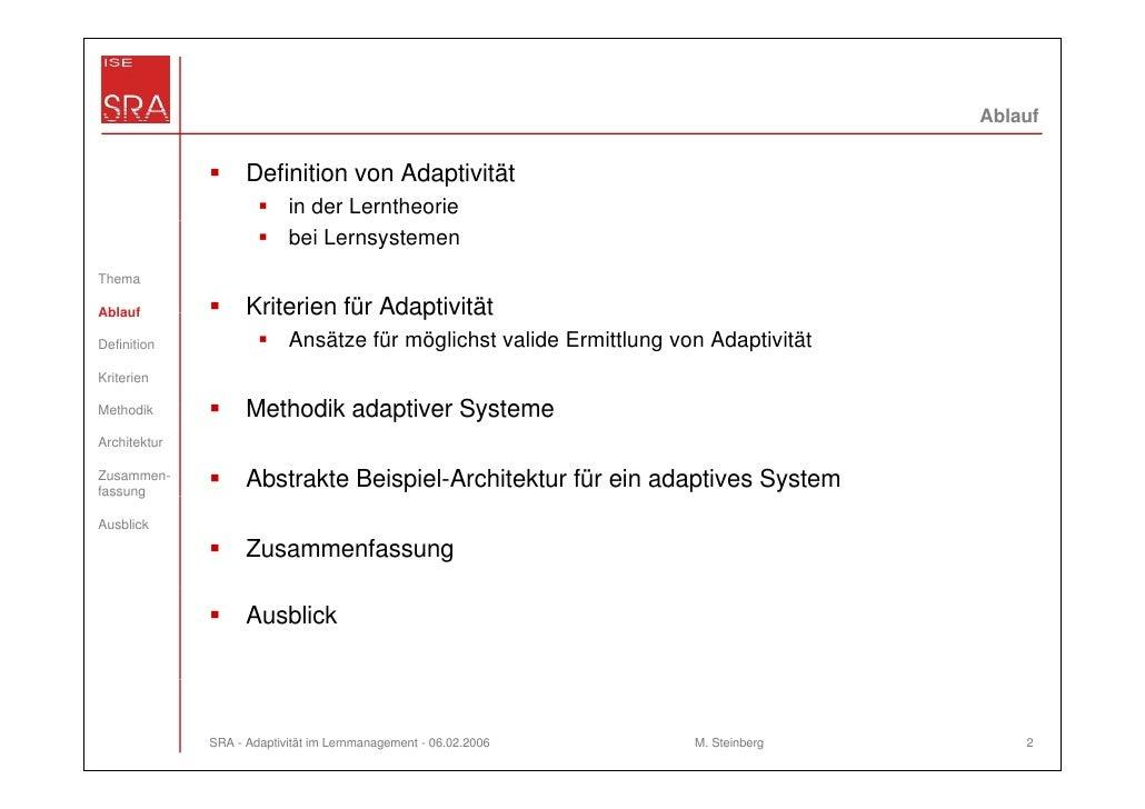 Ablauf                    Definition von Adaptivität                           in der Lerntheorie                         ...