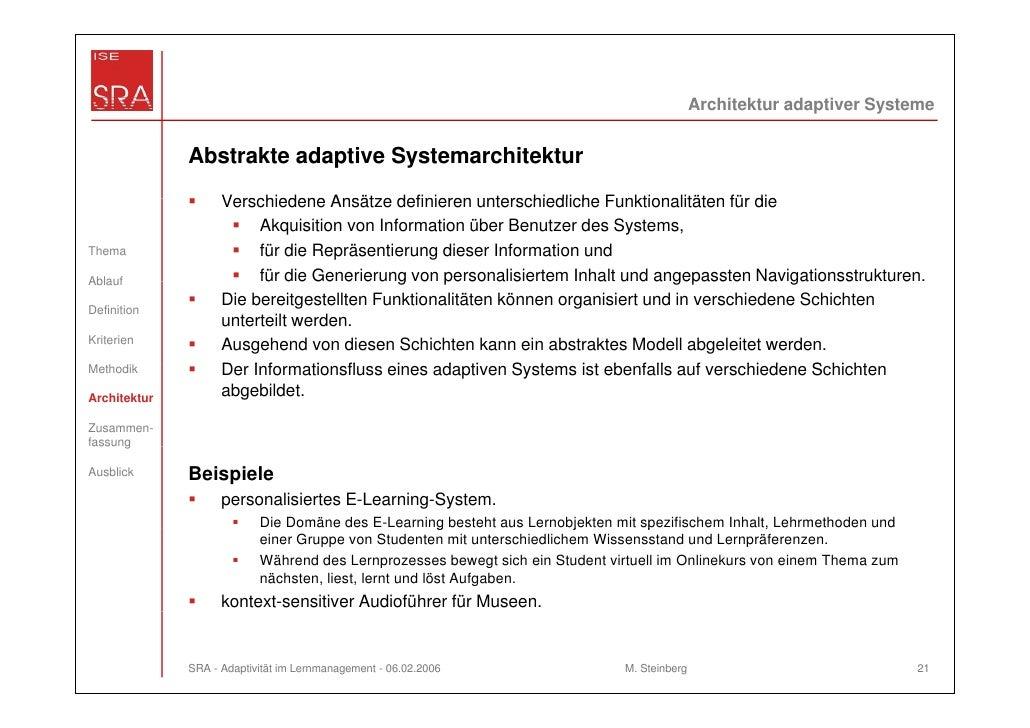 Architektur adaptiver Systeme              Abstrakte adaptive Systemarchitektur                    Verschiedene Ansätze de...